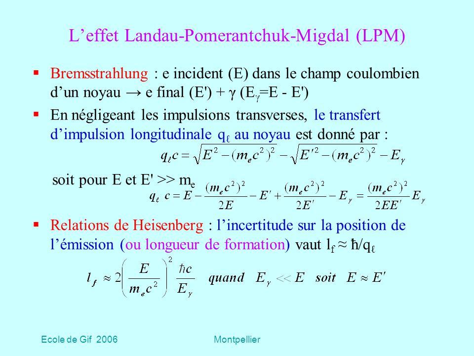 Ecole de Gif 2006Montpellier Leffet Landau-Pomerantchuk-Migdal (LPM) Bremsstrahlung : e incident (E) dans le champ coulombien dun noyau e final (E ) + γ (E γ =E - E ) En négligeant les impulsions transverses, le transfert dimpulsion longitudinale q au noyau est donné par : soit pour E et E >> m e Relations de Heisenberg : lincertitude sur la position de lémission (ou longueur de formation) vaut l f ħ/q