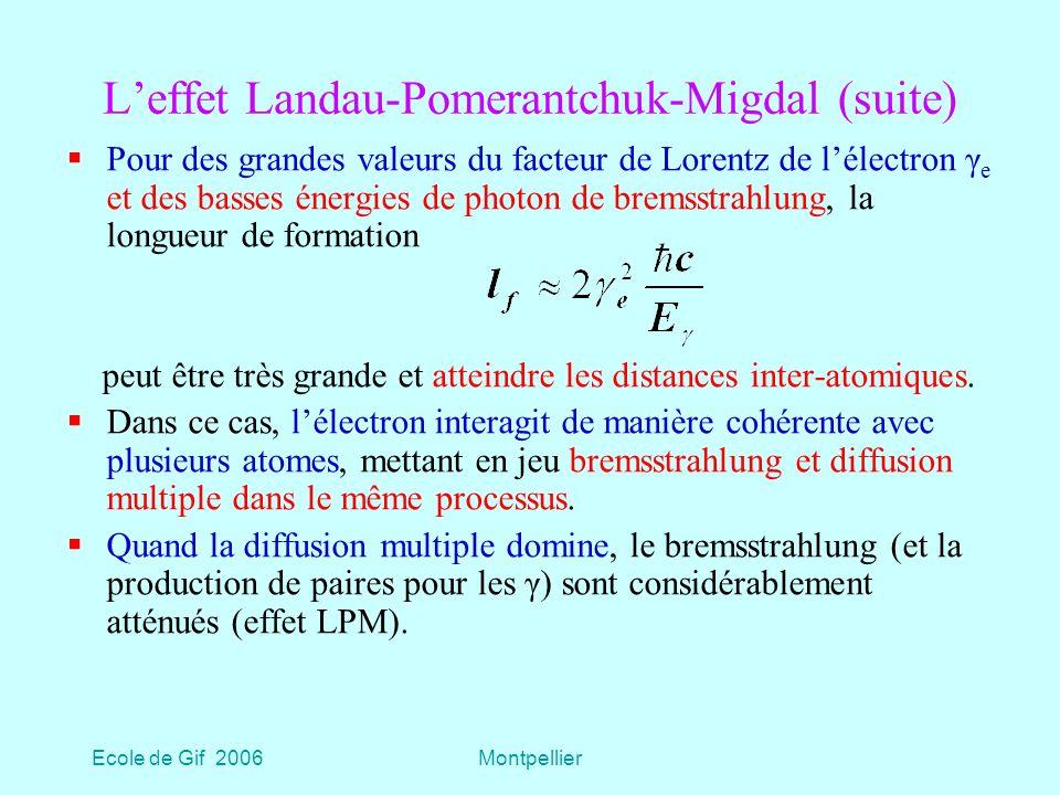 Ecole de Gif 2006Montpellier Leffet Landau-Pomerantchuk-Migdal (suite) Pour des grandes valeurs du facteur de Lorentz de lélectron γ e et des basses énergies de photon de bremsstrahlung, la longueur de formation peut être très grande et atteindre les distances inter-atomiques.
