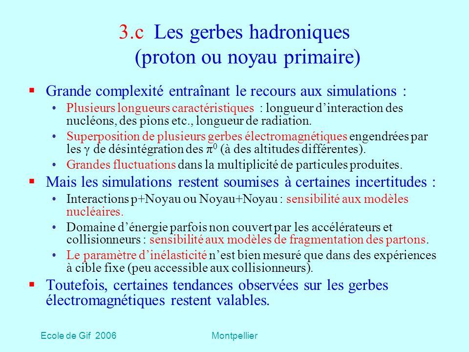 Ecole de Gif 2006Montpellier 3.c Les gerbes hadroniques (proton ou noyau primaire) Grande complexité entraînant le recours aux simulations : Plusieurs longueurs caractéristiques : longueur dinteraction des nucléons, des pions etc., longueur de radiation.
