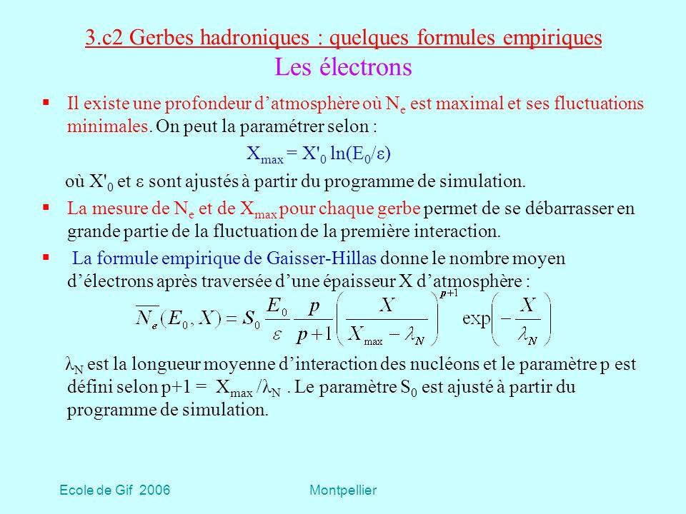 Ecole de Gif 2006Montpellier 3.c2 Gerbes hadroniques : quelques formules empiriques Les électrons Il existe une profondeur datmosphère où N e est maximal et ses fluctuations minimales.