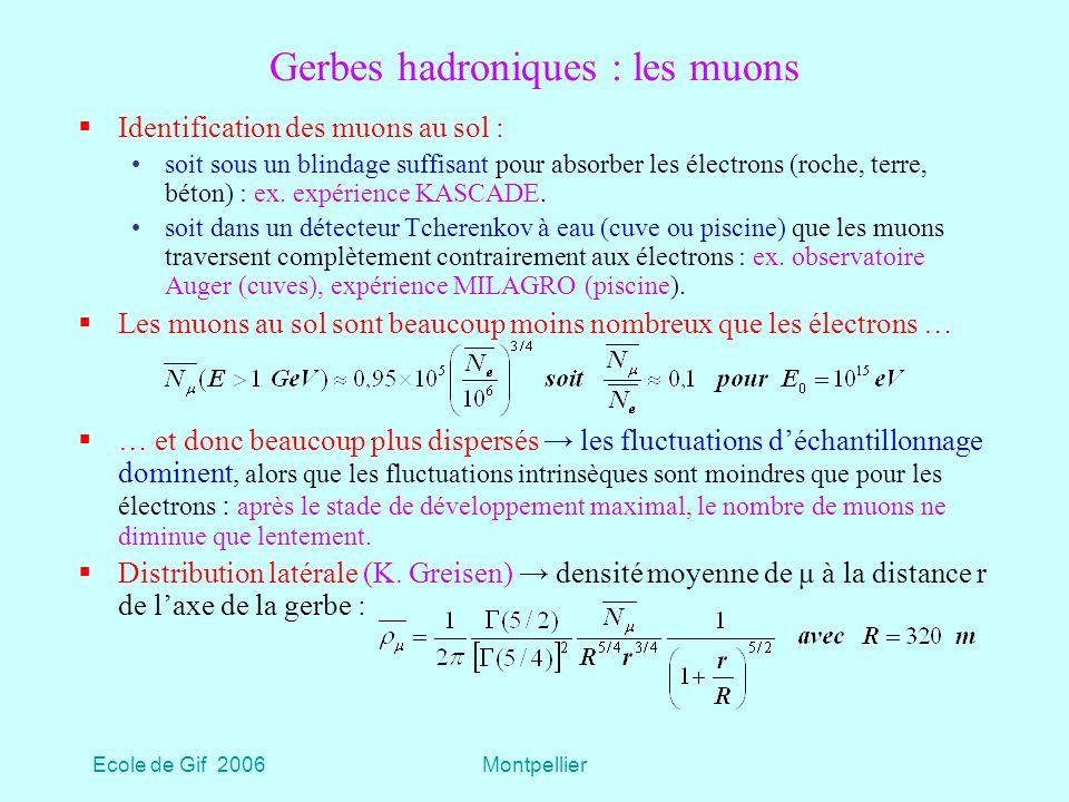 Ecole de Gif 2006Montpellier Gerbes hadroniques : les muons Identification des muons au sol : soit sous un blindage suffisant pour absorber les électrons (roche, terre, béton) : ex.