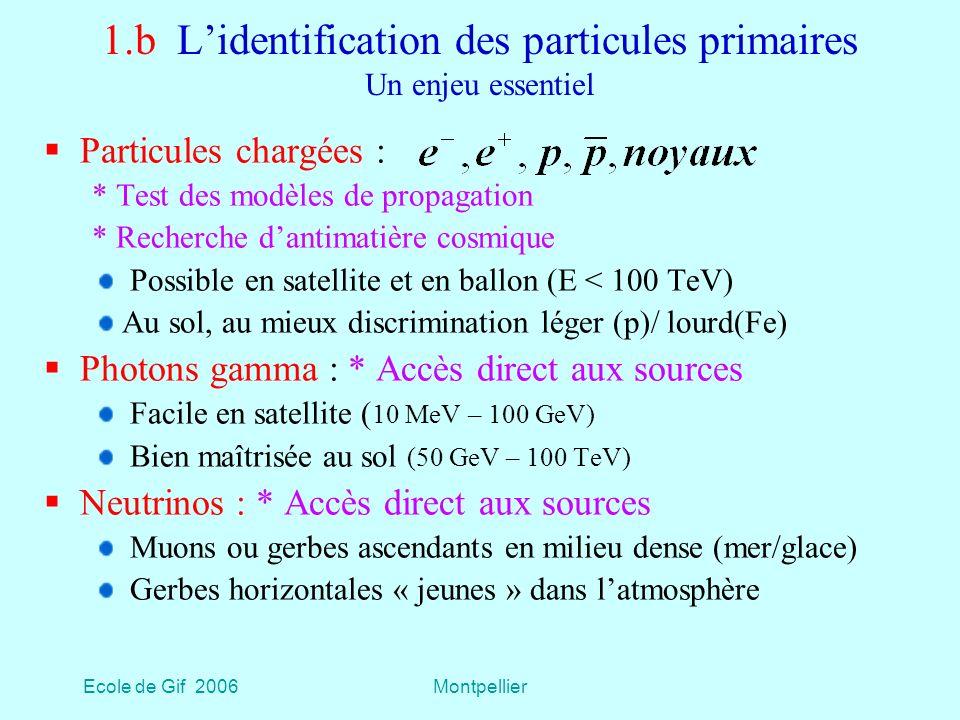 Ecole de Gif 2006Montpellier 1.b Lidentification des particules primaires Un enjeu essentiel Particules chargées : * Test des modèles de propagation * Recherche dantimatière cosmique Possible en satellite et en ballon (E < 100 TeV) Au sol, au mieux discrimination léger (p)/ lourd(Fe) Photons gamma : * Accès direct aux sources Facile en satellite ( 10 MeV – 100 GeV) Bien maîtrisée au sol (50 GeV – 100 TeV) Neutrinos : * Accès direct aux sources Muons ou gerbes ascendants en milieu dense (mer/glace) Gerbes horizontales « jeunes » dans latmosphère