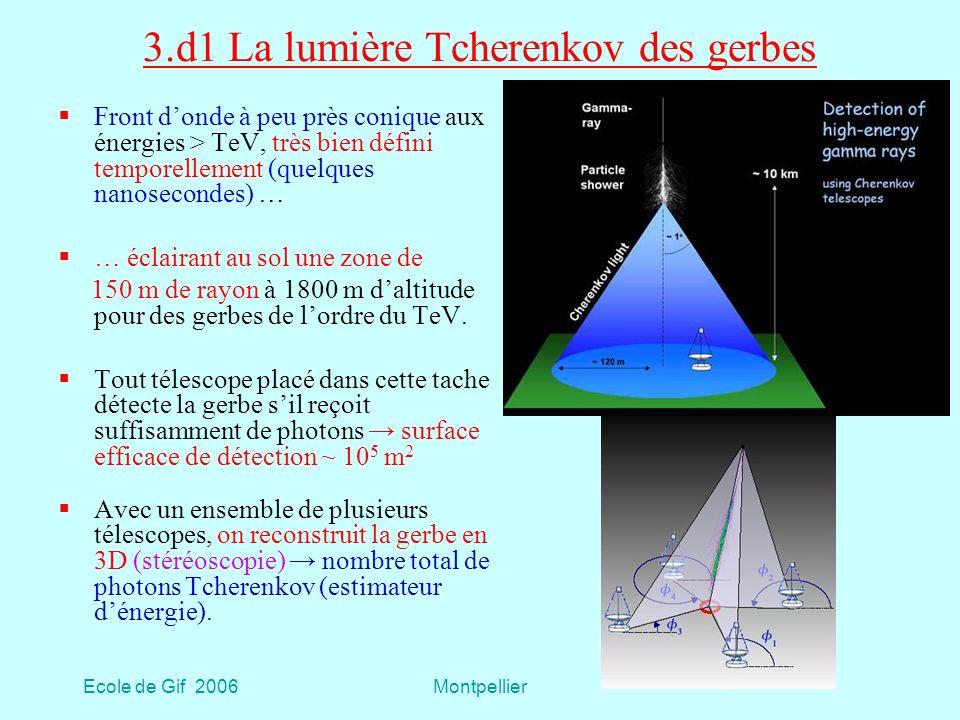Ecole de Gif 2006Montpellier 3.d1 La lumière Tcherenkov des gerbes Front donde à peu près conique aux énergies > TeV, très bien défini temporellement (quelques nanosecondes) … … éclairant au sol une zone de 150 m de rayon à 1800 m daltitude pour des gerbes de lordre du TeV.