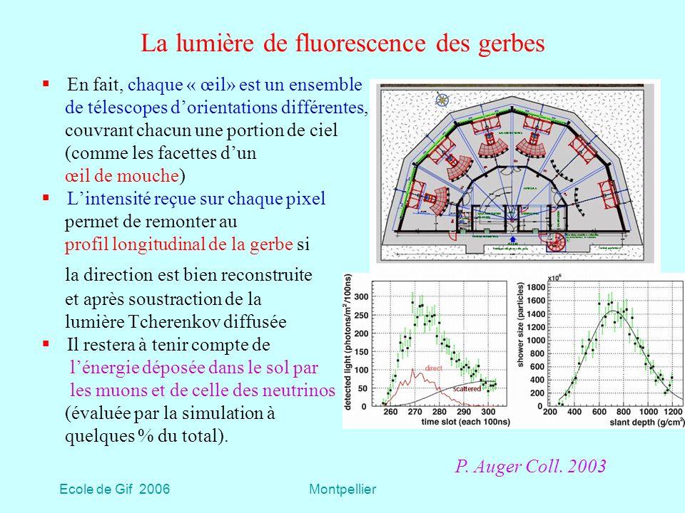 Ecole de Gif 2006Montpellier La lumière de fluorescence des gerbes En fait, chaque « œil» est un ensemble de télescopes dorientations différentes, couvrant chacun une portion de ciel (comme les facettes dun œil de mouche) Lintensité reçue sur chaque pixel permet de remonter au profil longitudinal de la gerbe si la direction est bien reconstruite et après soustraction de la lumière Tcherenkov diffusée Il restera à tenir compte de lénergie déposée dans le sol par les muons et de celle des neutrinos (évaluée par la simulation à quelques % du total).