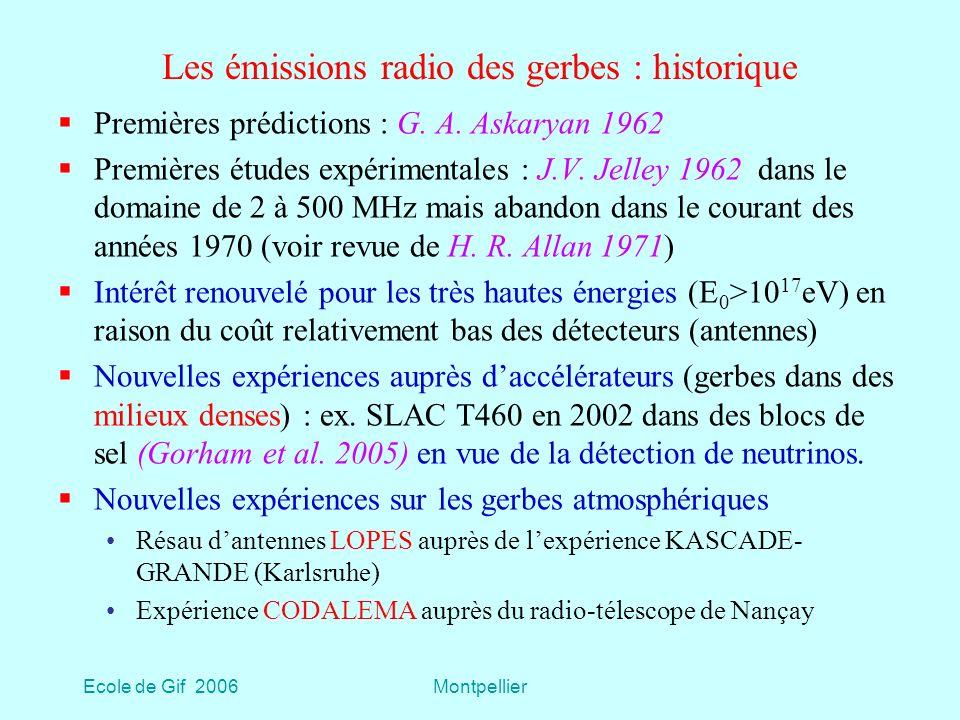 Ecole de Gif 2006Montpellier Les émissions radio des gerbes : historique Premières prédictions : G.