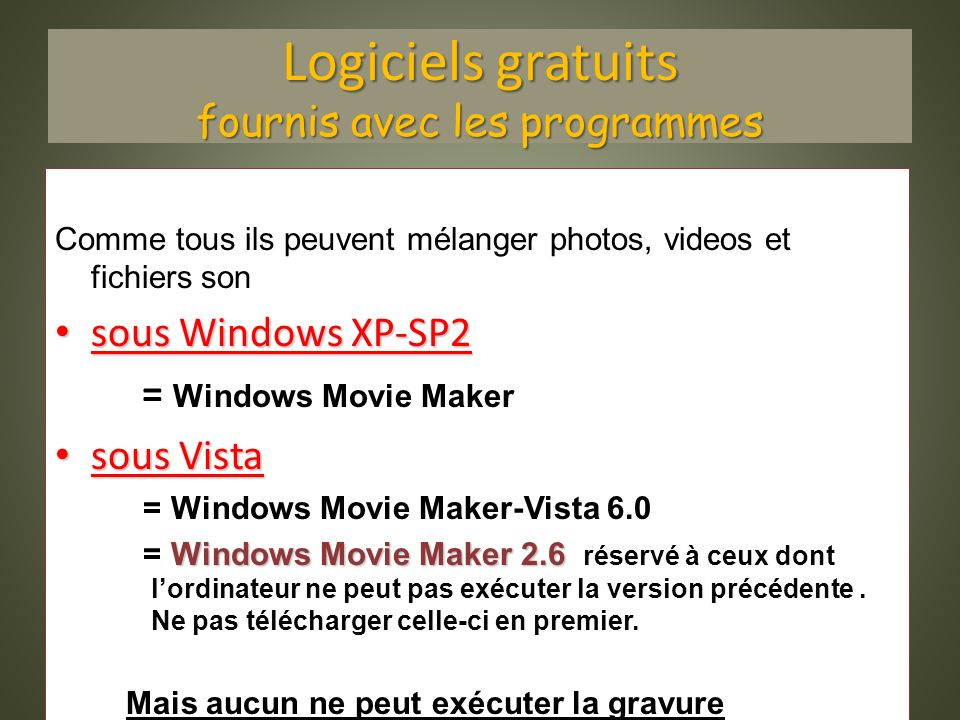 Logiciels gratuits fournis avec les programmes Comme tous ils peuvent mélanger photos, videos et fichiers son sous Windows XP-SP2 sous Windows XP-SP2