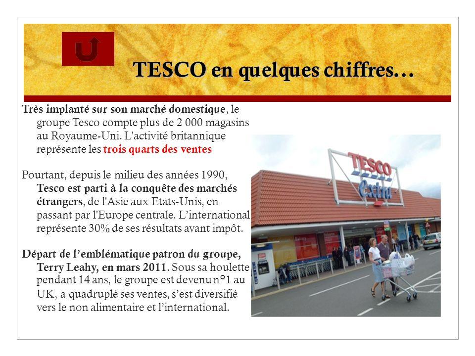 TESCO en quelques chiffres... Très implanté sur son marché domestique, le groupe Tesco compte plus de 2 000 magasins au Royaume-Uni. L'activité britan