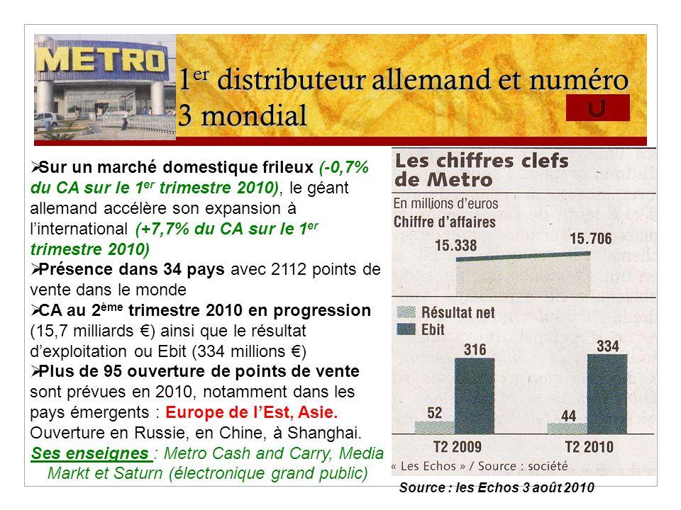 1 er distributeur allemand et numéro 3 mondial Sur un marché domestique frileux (-0,7% du CA sur le 1 er trimestre 2010), le géant allemand accélère s