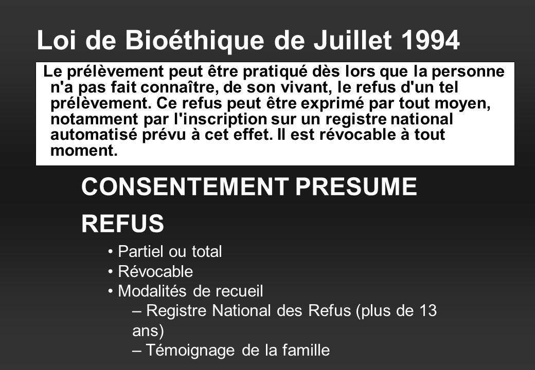 Loi de Bioéthique de Juillet 1994 Le prélèvement peut être pratiqué dès lors que la personne n a pas fait connaître, de son vivant, le refus d un tel prélèvement.