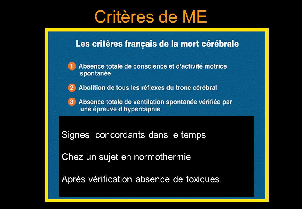 Critères de ME Signes concordants dans le temps Chez un sujet en normothermie Après vérification absence de toxiques