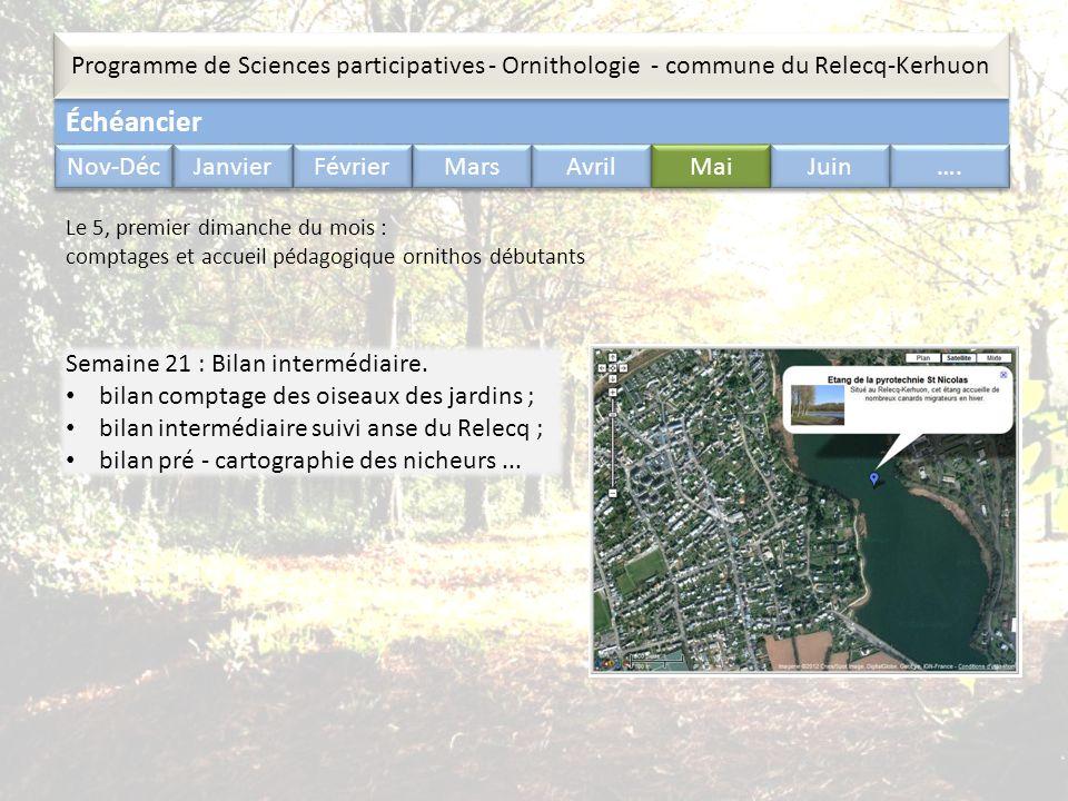 Échéancier Programme de Sciences participatives - Ornithologie - commune du Relecq-Kerhuon Nov-Déc Janvier Février Mars Avril Mai Juin …. Semaine 21 :