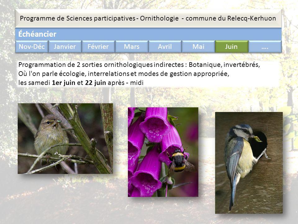 Échéancier Programme de Sciences participatives - Ornithologie - commune du Relecq-Kerhuon Nov-Déc Janvier Février Mars Avril Mai Juin …. Programmatio