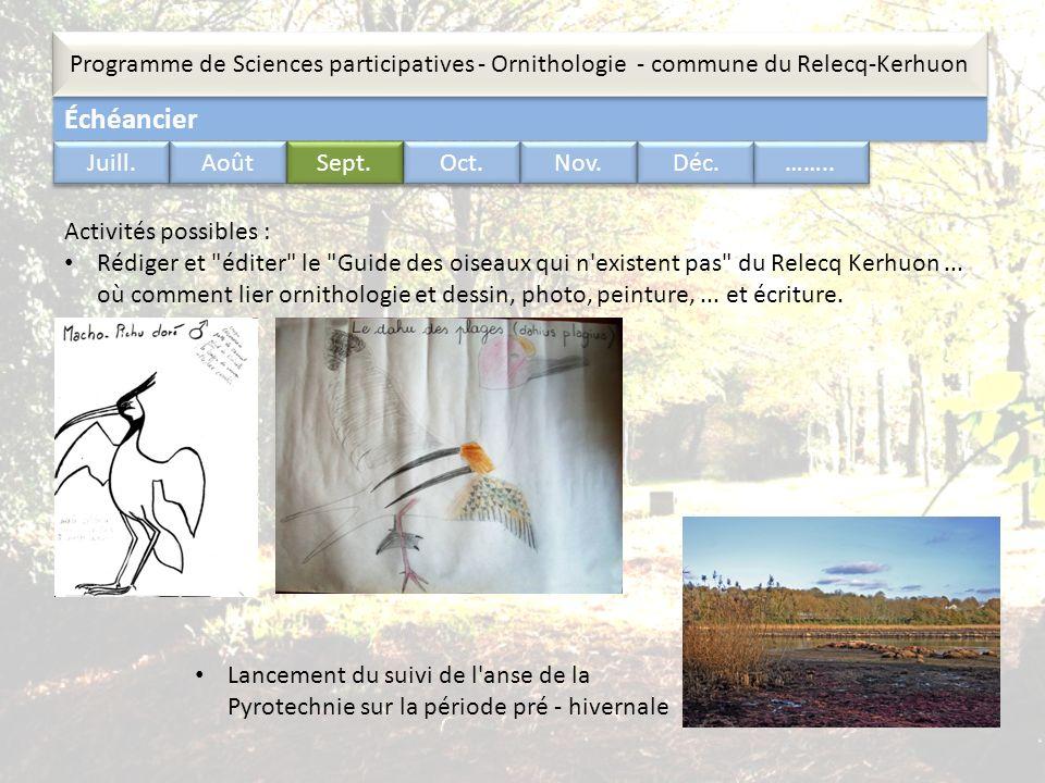 Échéancier Programme de Sciences participatives - Ornithologie - commune du Relecq-Kerhuon …….. Juill. Août Sept. Oct. Nov. Déc. Activités possibles :