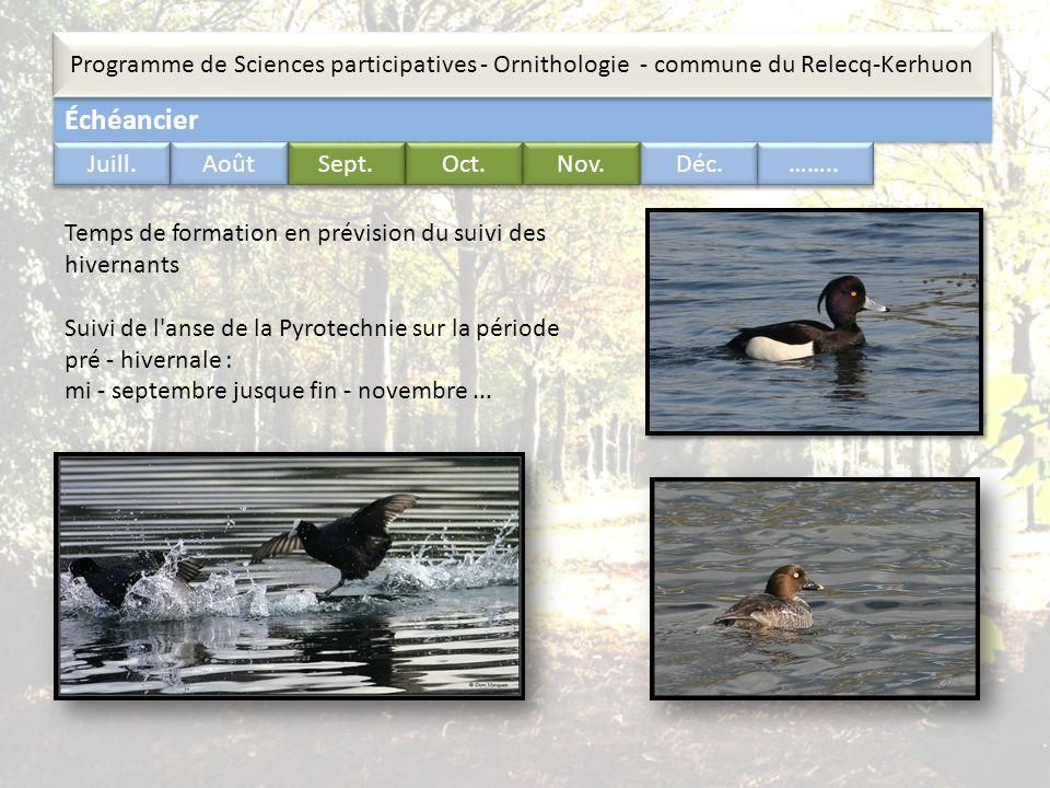 Échéancier Programme de Sciences participatives - Ornithologie - commune du Relecq-Kerhuon …….. Juill. Août Sept. Oct. Nov. Déc. Temps de formation en