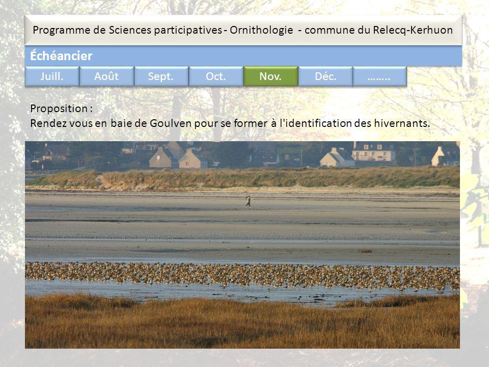 Échéancier Programme de Sciences participatives - Ornithologie - commune du Relecq-Kerhuon …….. Juill. Août Sept. Oct. Nov. Déc. Proposition : Rendez