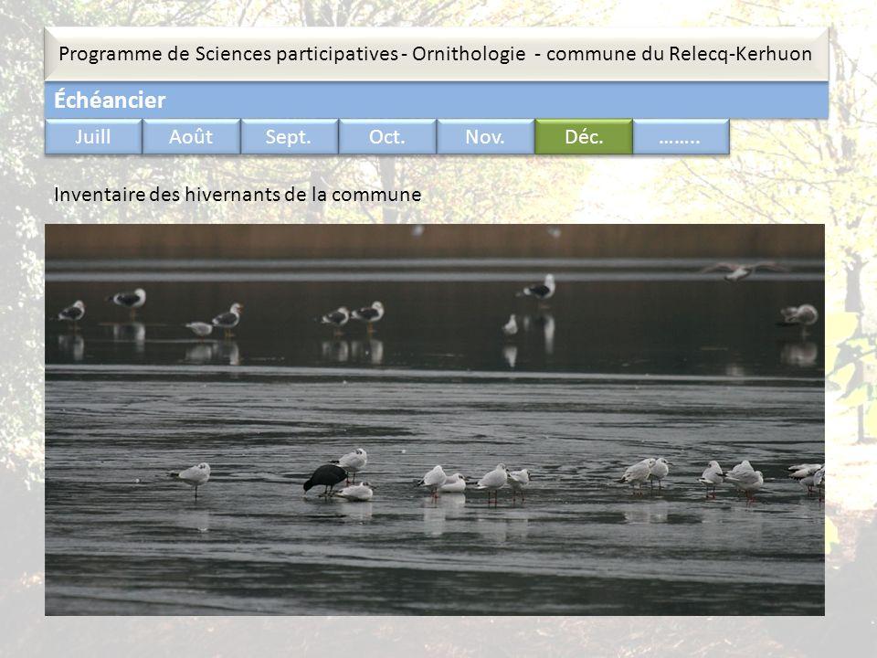 Échéancier Programme de Sciences participatives - Ornithologie - commune du Relecq-Kerhuon …….. Juill Août Sept. Oct. Nov. Déc. Inventaire des hiverna
