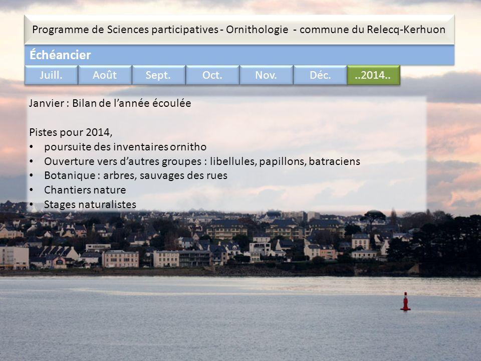 Échéancier Programme de Sciences participatives - Ornithologie - commune du Relecq-Kerhuon..2014.. Juill. Août Sept. Oct. Nov. Déc. Janvier : Bilan de