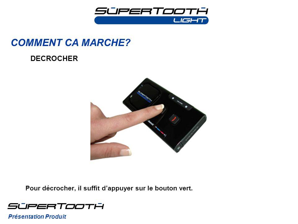COMMENT CA MARCHE? Présentation Produit DECROCHER Pour décrocher, il suffit dappuyer sur le bouton vert.