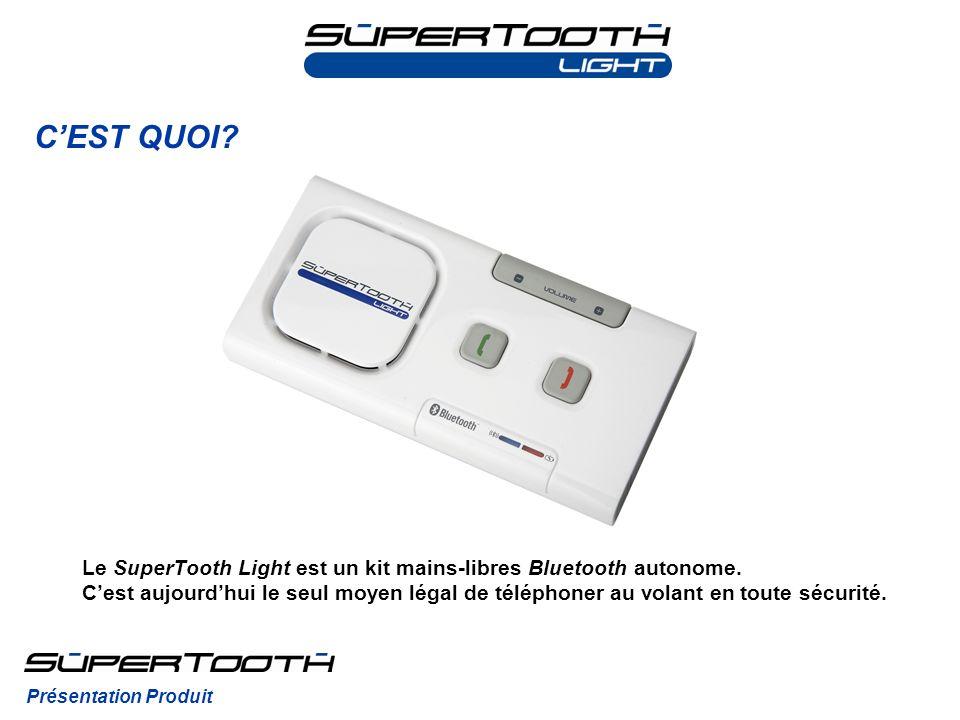 Le SuperTooth Light est un kit mains-libres Bluetooth autonome. Cest aujourdhui le seul moyen légal de téléphoner au volant en toute sécurité. CEST QU