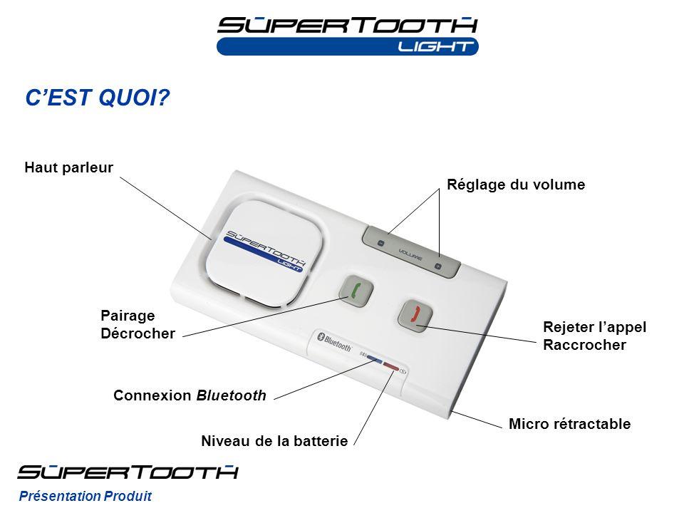 CEST QUOI? Présentation Produit Haut parleur Réglage du volume Pairage Décrocher Rejeter lappel Raccrocher Connexion Bluetooth Niveau de la batterie M