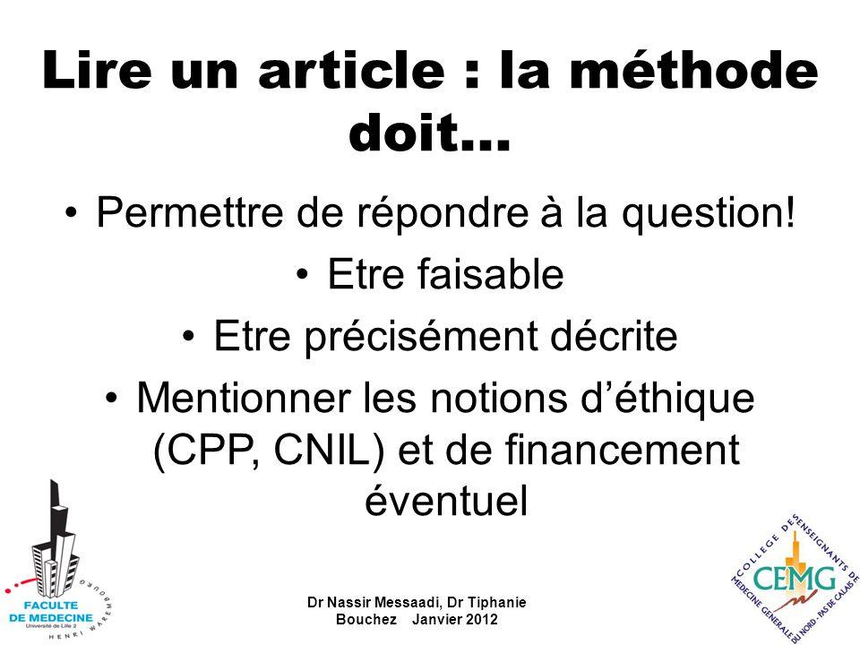 Lire un article : la méthode doit... Permettre de répondre à la question! Etre faisable Etre précisément décrite Mentionner les notions déthique (CPP,