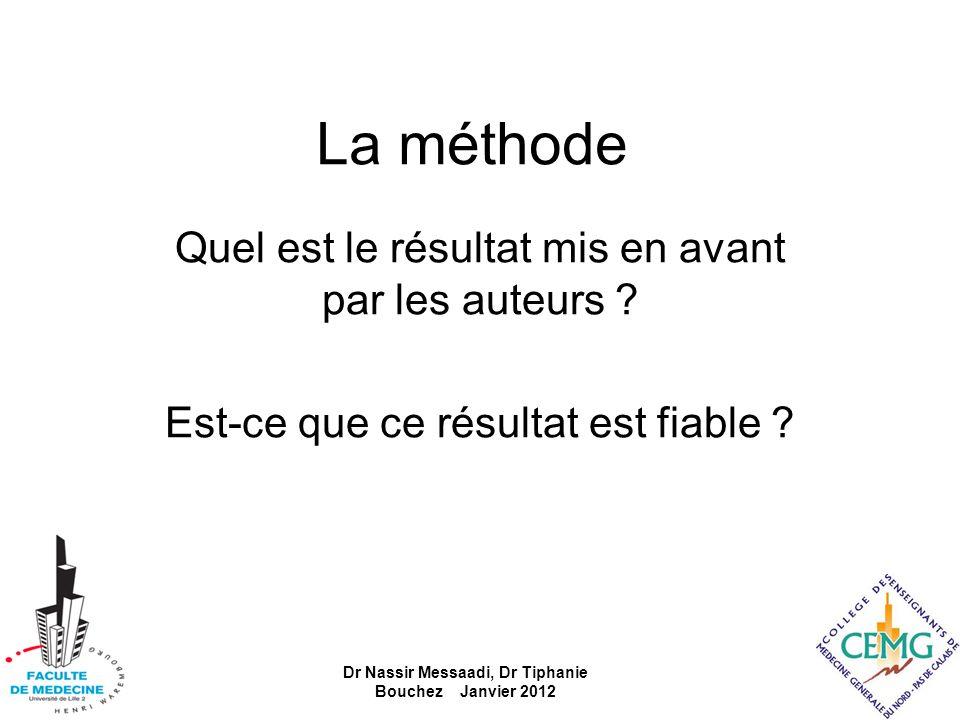 La méthode Quel est le résultat mis en avant par les auteurs ? Est-ce que ce résultat est fiable ? Dr Nassir Messaadi, Dr Tiphanie Bouchez Janvier 201