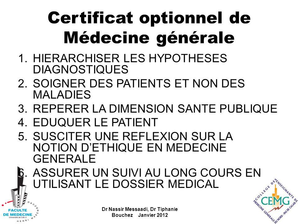 Certificat optionnel de Médecine générale 1.HIERARCHISER LES HYPOTHESES DIAGNOSTIQUES 2.SOIGNER DES PATIENTS ET NON DES MALADIES 3.REPERER LA DIMENSIO