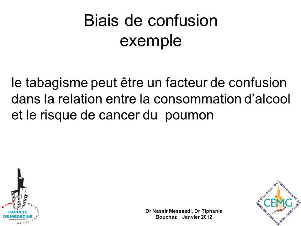 Biais de confusion exemple le tabagisme peut être un facteur de confusion dans la relation entre la consommation dalcool et le risque de cancer du pou
