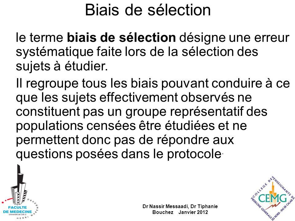 Biais de sélection le terme biais de sélection désigne une erreur systématique faite lors de la sélection des sujets à étudier. Il regroupe tous les b