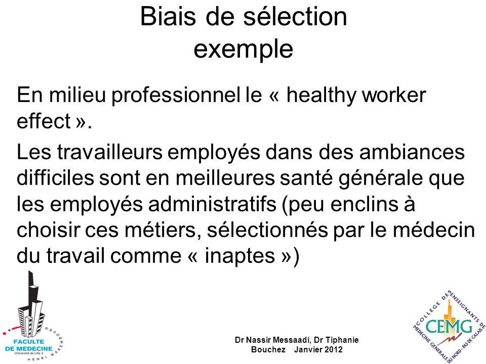 Biais de sélection exemple En milieu professionnel le « healthy worker effect ». Les travailleurs employés dans des ambiances difficiles sont en meill