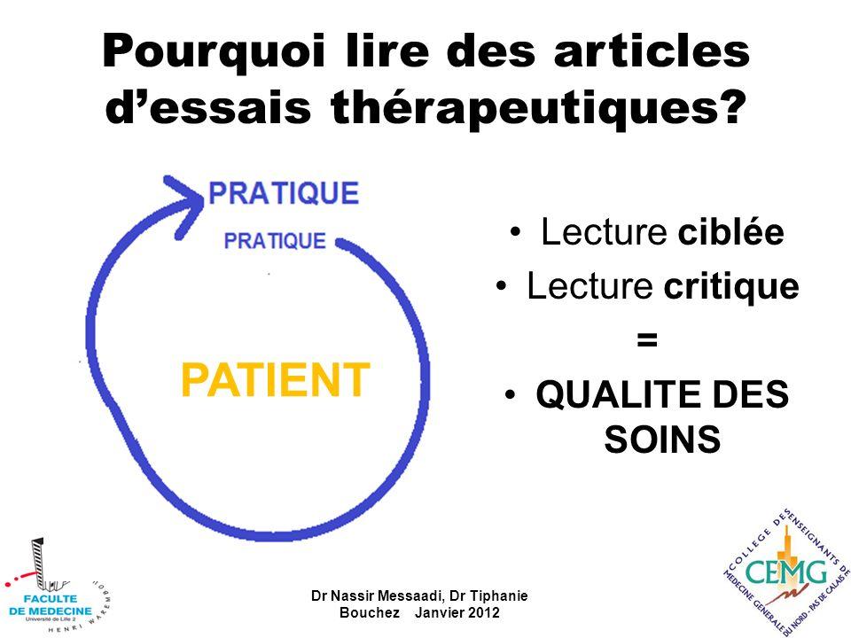 Pourquoi lire des articles dessais thérapeutiques? Dr Nassir Messaadi, Dr Tiphanie Bouchez Janvier 2012 Lecture ciblée Lecture critique = QUALITE DES