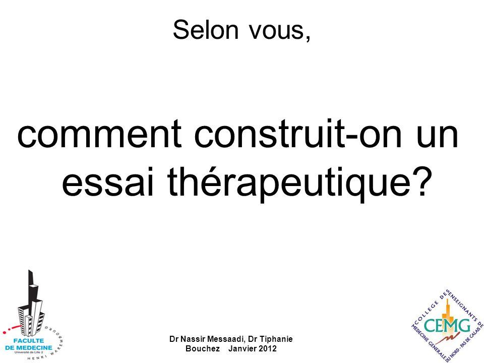 Selon vous, comment construit-on un essai thérapeutique? Dr Nassir Messaadi, Dr Tiphanie Bouchez Janvier 2012