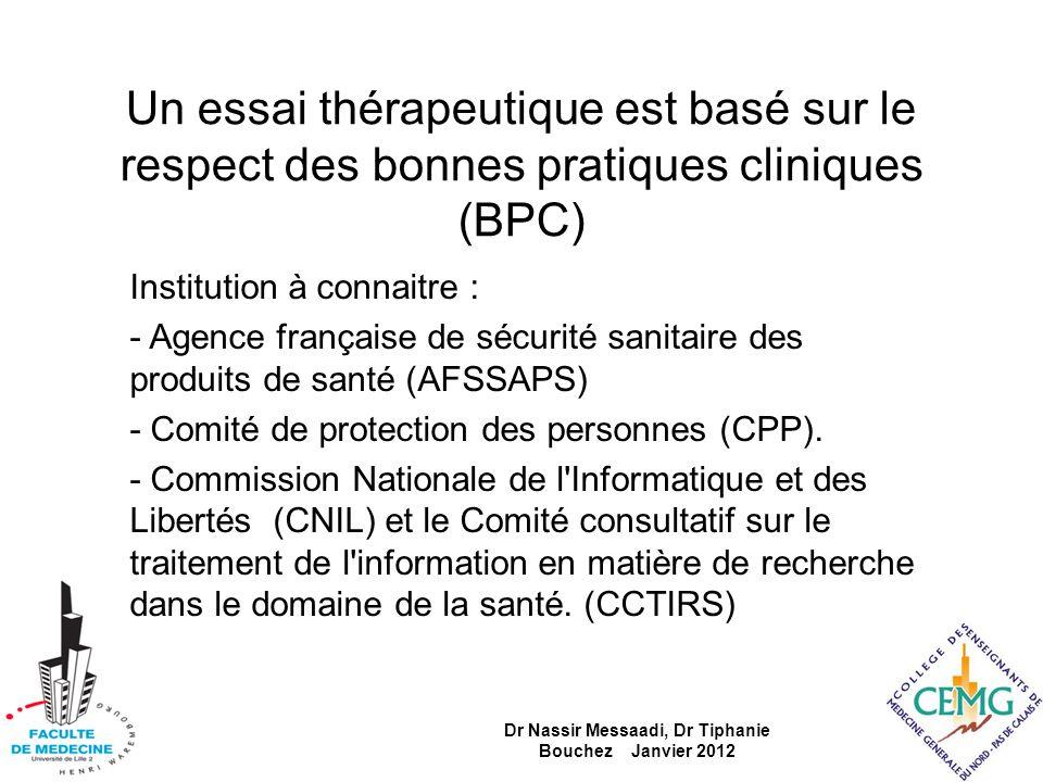 Un essai thérapeutique est basé sur le respect des bonnes pratiques cliniques (BPC) Institution à connaitre : - Agence française de sécurité sanitaire