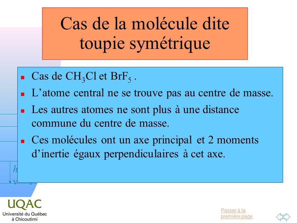 Passer à la première page v = 0 v = 1 v = 2 h Cas de CH 3 Cl et BrF 5. Latome central ne se trouve pas au centre de masse. Les autres atomes ne sont p