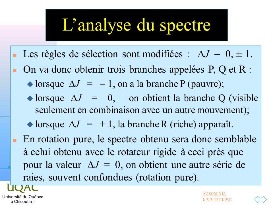 Passer à la première page v = 0 v = 1 v = 2 h Lanalyse du spectre Les règles de sélection sont modifiées : J = 0, ± 1. n On va donc obtenir trois bran