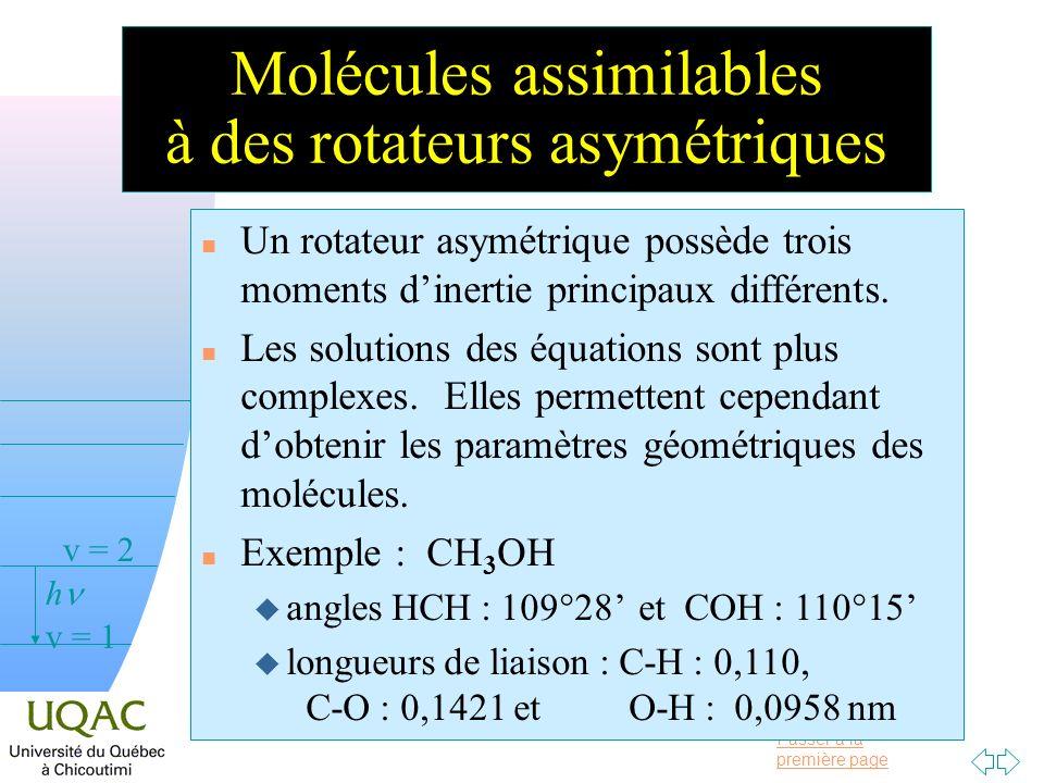 Passer à la première page v = 0 v = 1 v = 2 h Molécules assimilables à des rotateurs asymétriques n Un rotateur asymétrique possède trois moments dine