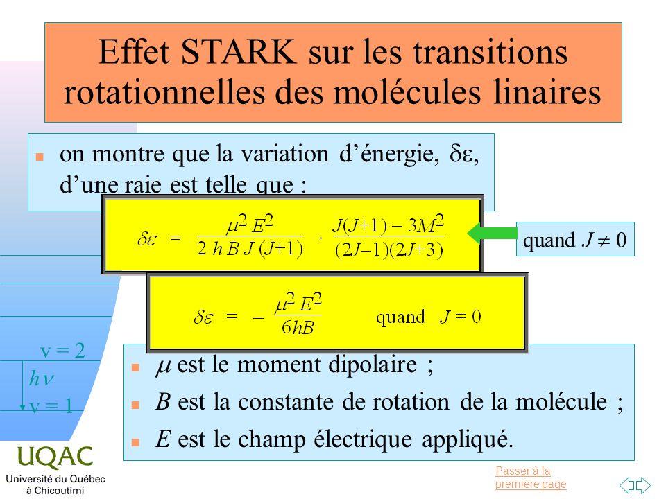 Passer à la première page v = 0 v = 1 v = 2 h Effet STARK sur les transitions rotationnelles des molécules linaires on montre que la variation dénergi