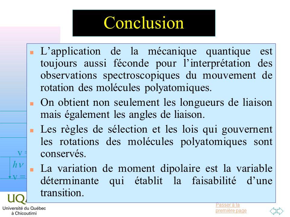 Passer à la première page v = 0 v = 1 v = 2 h Conclusion n Lapplication de la mécanique quantique est toujours aussi féconde pour linterprétation des