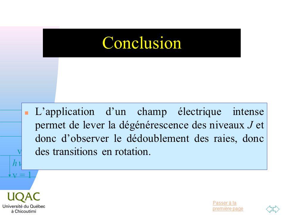 Passer à la première page v = 0 v = 1 v = 2 h Conclusion n Lapplication dun champ électrique intense permet de lever la dégénérescence des niveaux J e