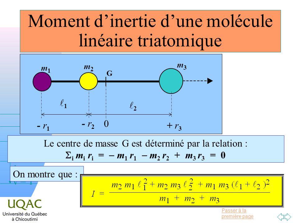 Passer à la première page v = 0 v = 1 v = 2 h Moment dinertie dune molécule linéaire triatomique Le centre de masse G est déterminé par la relation :