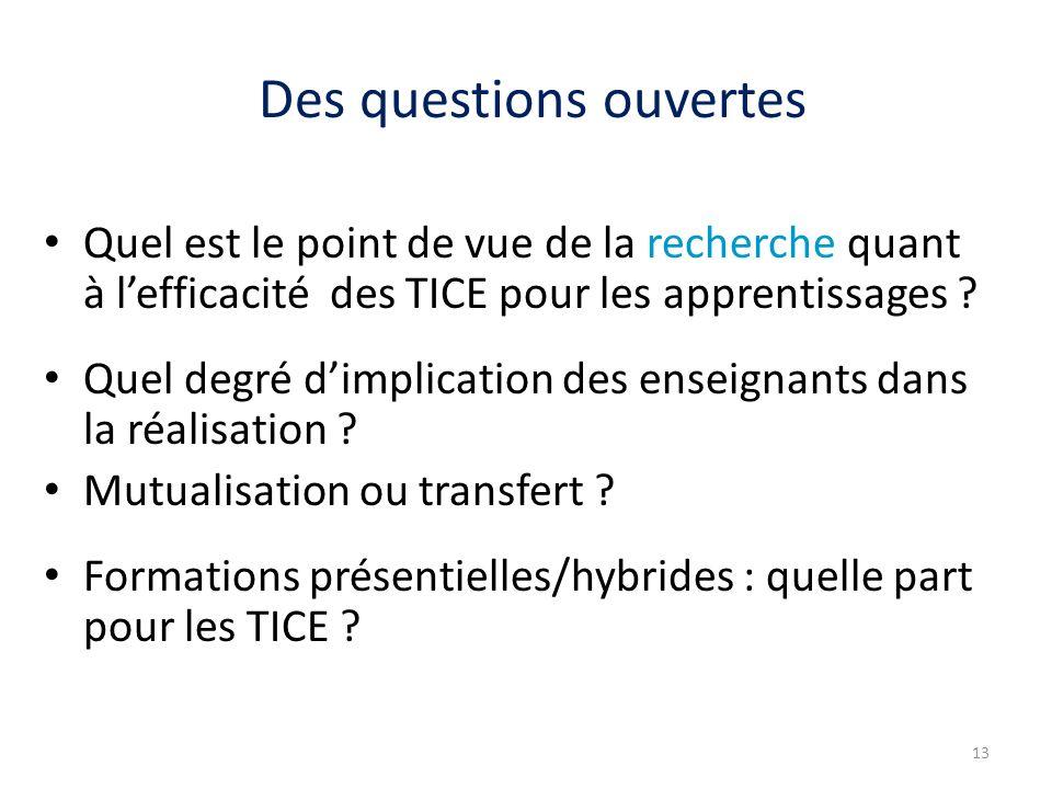 Des questions ouvertes Quel est le point de vue de la recherche quant à lefficacité des TICE pour les apprentissages .