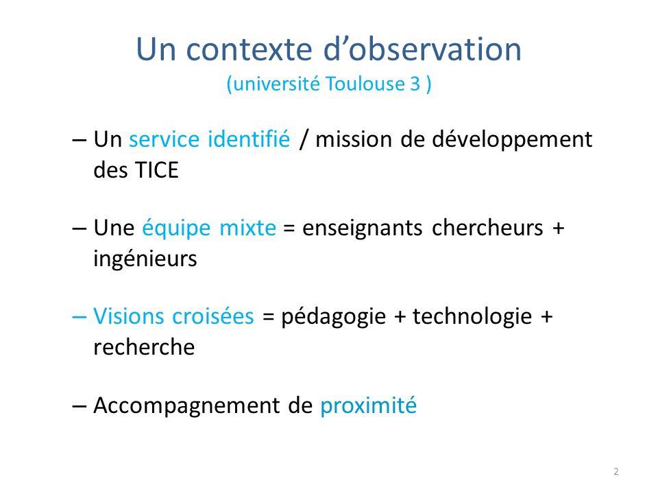 Un contexte dobservation (université Toulouse 3 ) – Un service identifié / mission de développement des TICE – Une équipe mixte = enseignants chercheurs + ingénieurs – Visions croisées = pédagogie + technologie + recherche – Accompagnement de proximité 2