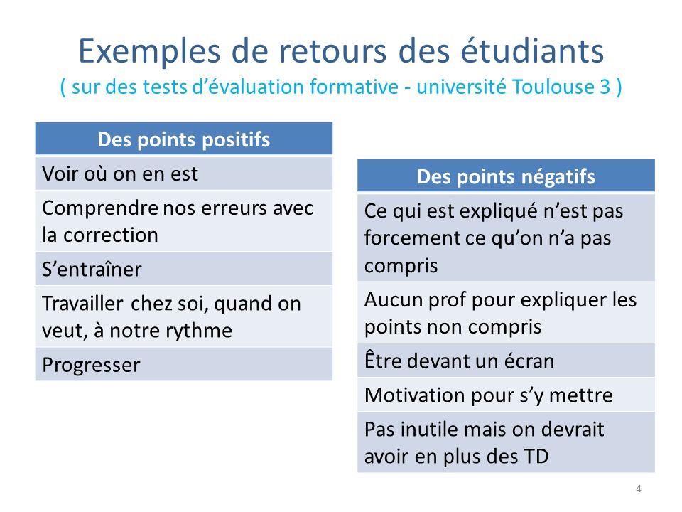 Exemples de retours des étudiants ( sur des tests dévaluation formative - université Toulouse 3 ) 4 Des points positifs Voir où on en est Comprendre n