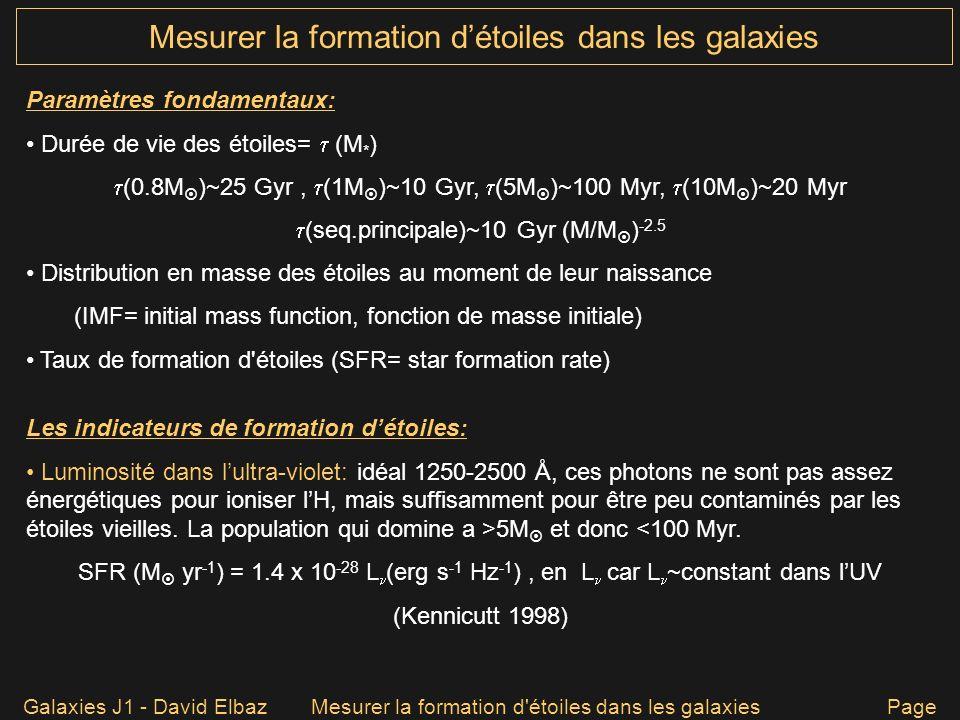 Mesurer la formation détoiles dans les galaxies Galaxies J1 - David ElbazMesurer la formation d'étoiles dans les galaxies Page 12 Paramètres fondament