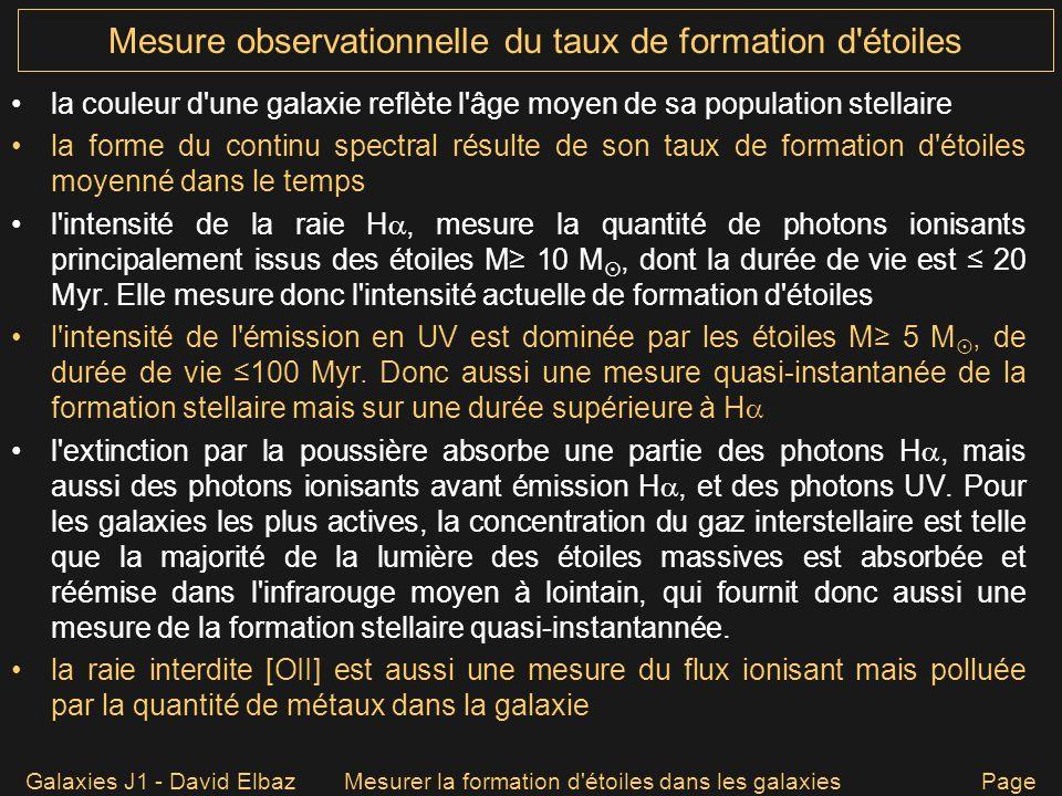 Galaxies J1 - David ElbazMesurer la formation d'étoiles dans les galaxies Page 17 Mesure observationnelle du taux de formation d'étoiles la couleur d'