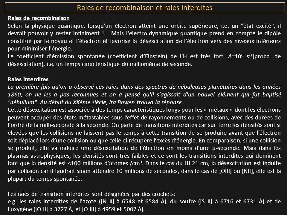 Raies de recombinaison et raies interdites Raies de recombinaison Selon la physique quantique, lorsqu'un électron atteint une orbite supérieure, i.e.