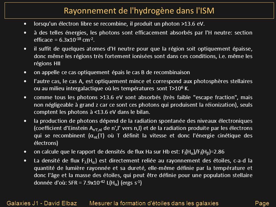 Rayonnement de l'hydrogène dans l'ISM lorsqu'un électron libre se recombine, il produit un photon >13.6 eV. à des telles énergies, les photons sont ef