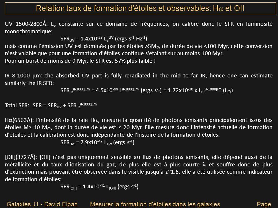 Galaxies J1 - David ElbazMesurer la formation d'étoiles dans les galaxies Page 20 Relation taux de formation d'étoiles et observables: H et OII UV 150