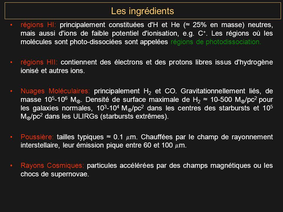 Les ingrédients régions HI: principalement constituées d'H et He ( 25% en masse) neutres, mais aussi d'ions de faible potentiel d'ionisation, e.g. C +