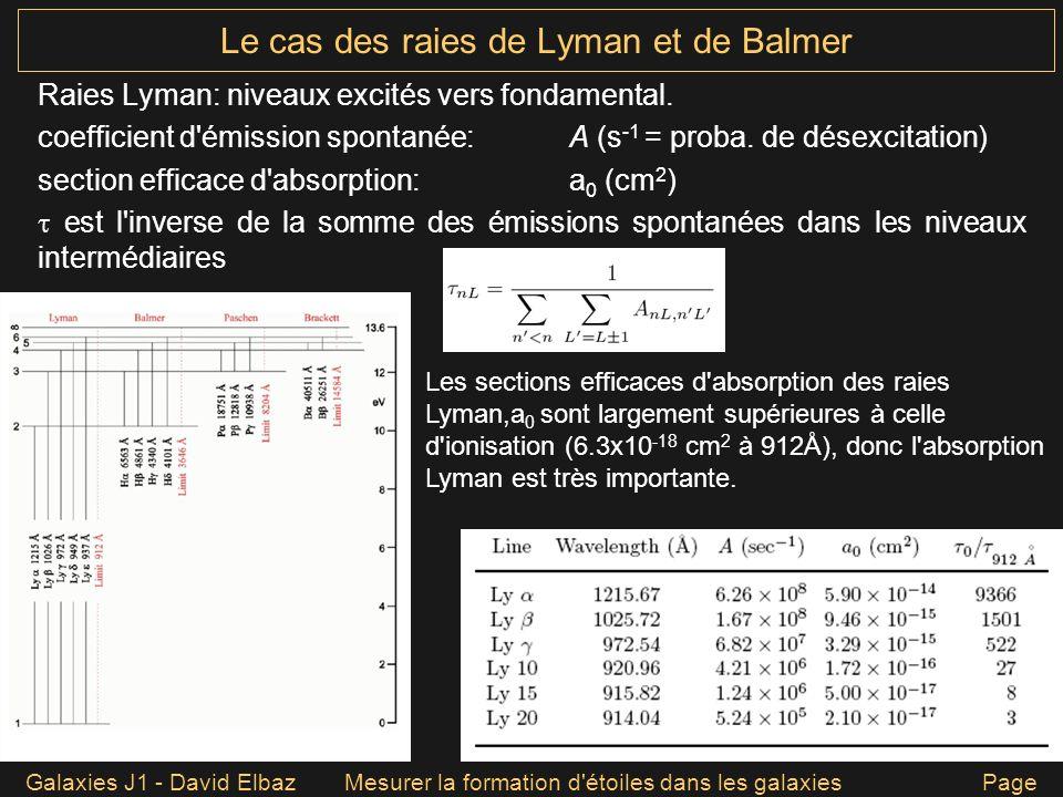 Galaxies J1 - David ElbazMesurer la formation d'étoiles dans les galaxies Page 41 Le cas des raies de Lyman et de Balmer Raies Lyman: niveaux excités